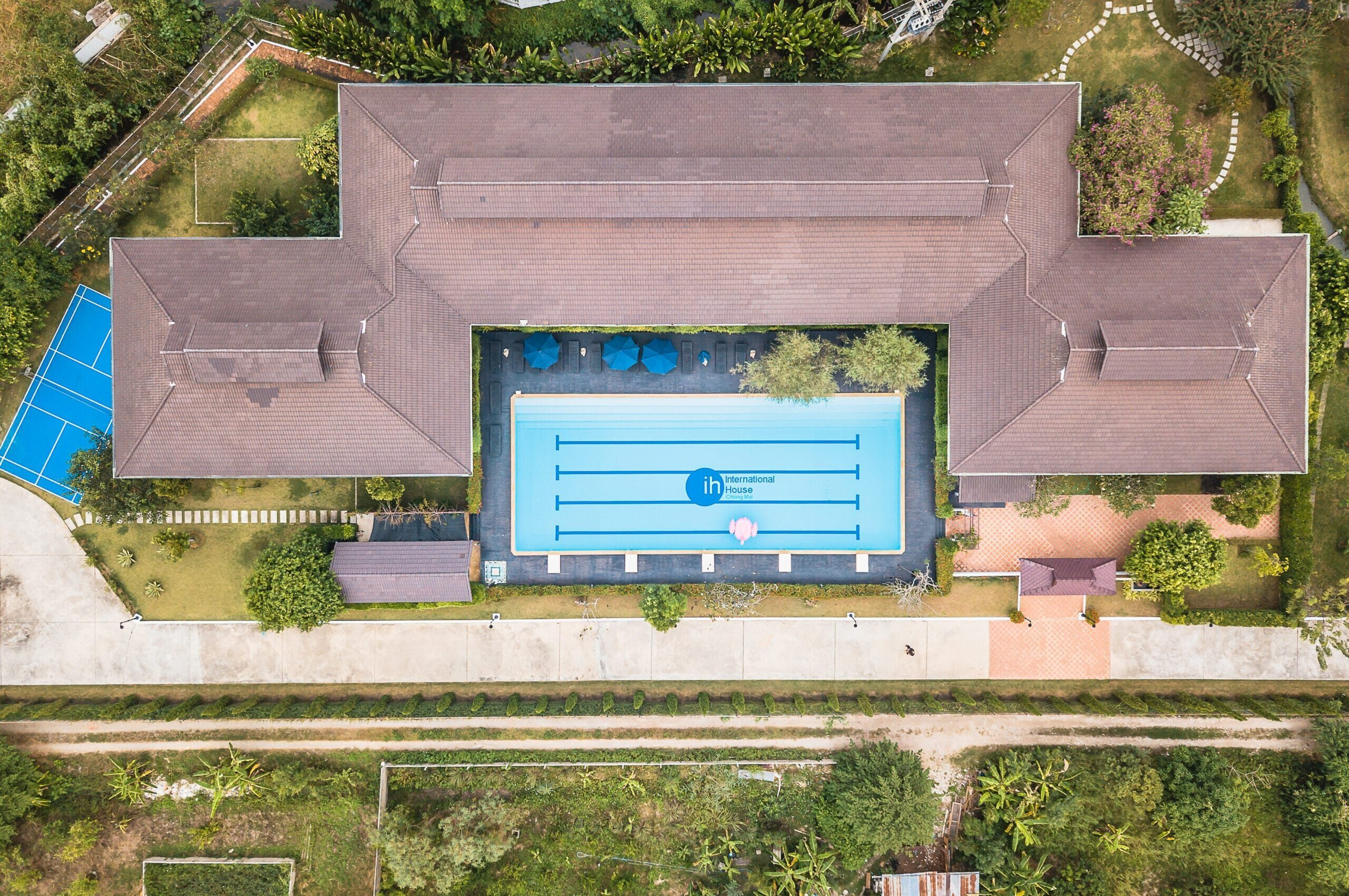 A Drone Shot – 1 – Accommodation + Pool – IH Chiang Mai