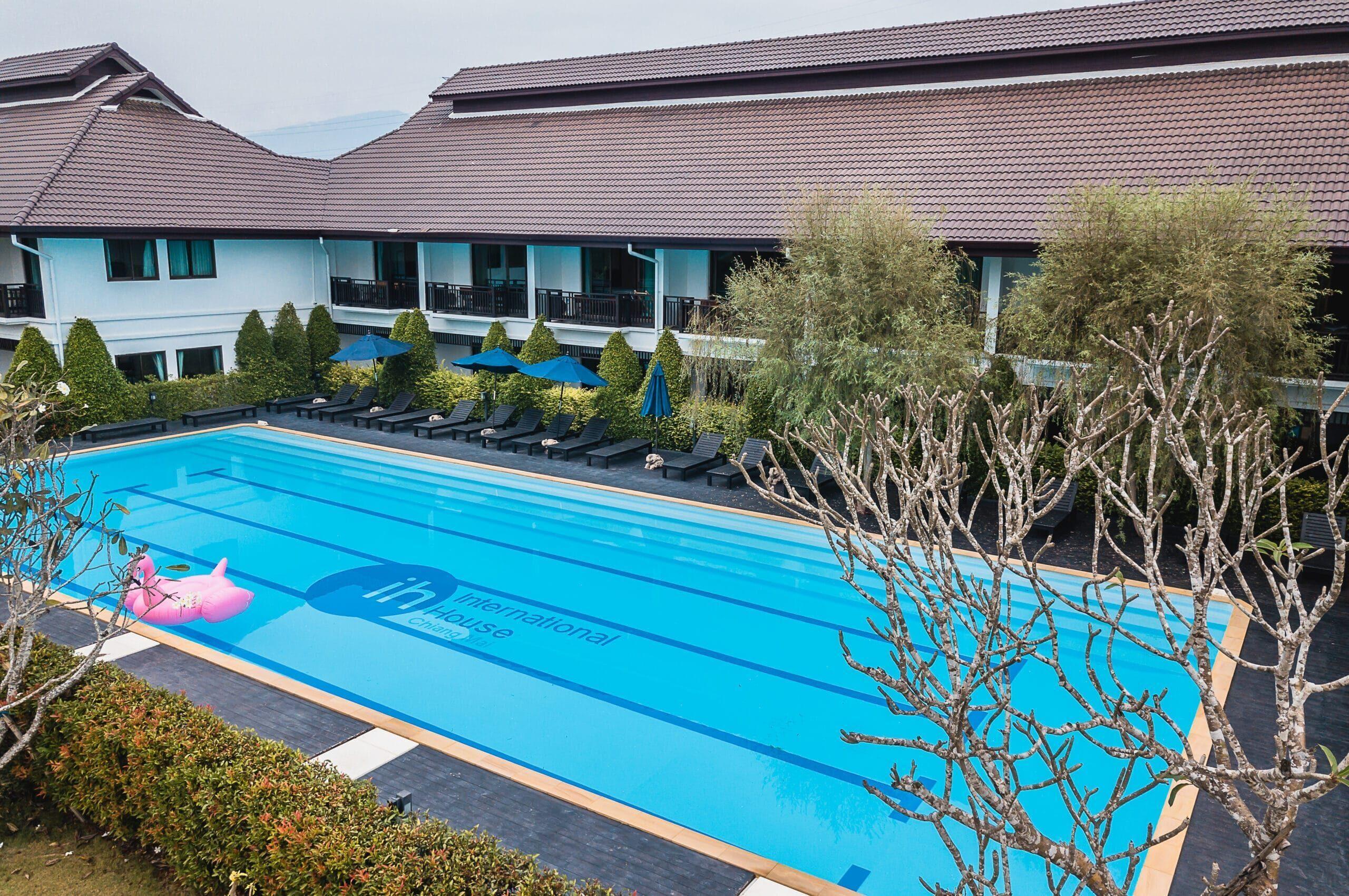 A Drone Shot - 4 - Accommodation + Pool - IH Chiang Mai -